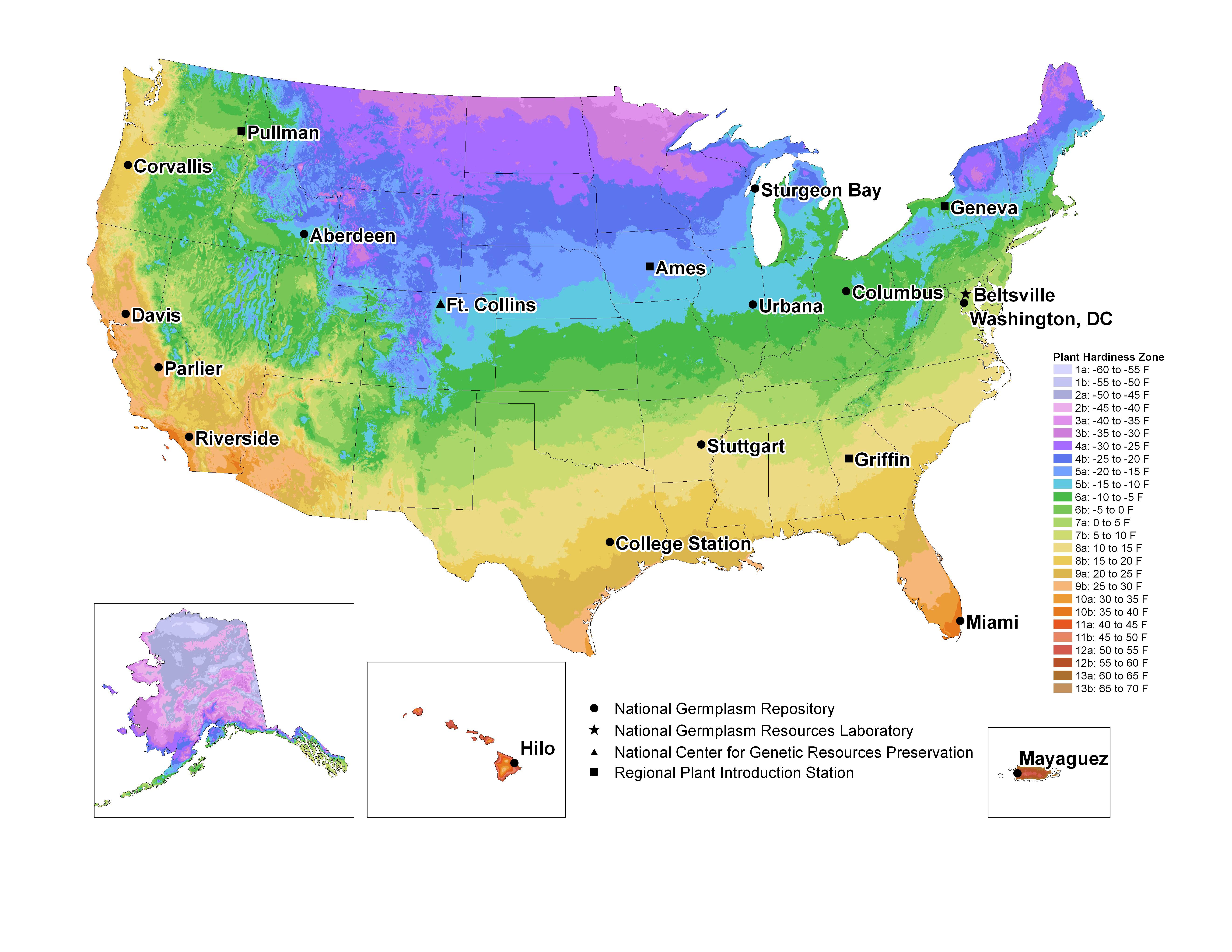 usda plant hardiness zone map with genebanks